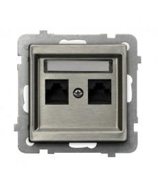 SONATA STAL INOX Gniazdo komputerowe podwójne, kat. 5e MMC Ref_GPK-2RM/K/m/37