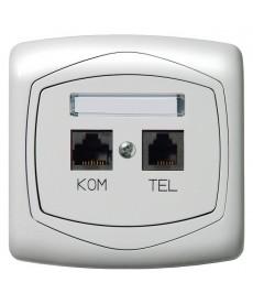 TON COLOR SYSTEM Gniazdo komputerowo-telefoniczne RJ 45 kat. 5e, (8-stykowe) + RJ 11 (6-stykowe) Ref_GPKT-C/K/m/00