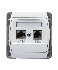 GAZELA Gniazdo komputerowo-telefoniczne RJ 45 kat. 5e, (8-stykowe) + RJ 11 (4-stykowe) Ref_GPKT-J/F/m/00