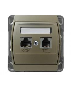 GAZELA Gniazdo komputerowo-telefoniczne RJ 45 kat. 5e, (8-stykowe) + RJ 11 (4-stykowe) Ref_GPKT-J/F/m/16/16