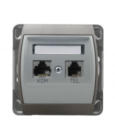 GAZELA Gniazdo komputerowo-telefoniczne RJ 45 kat. 5e, (8-stykowe) + RJ 11 (6-stykowe) Ref_GPKT-J/K/m/18/23