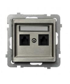 SONATA STAL INOX Gniazdo telefoniczne podwójne niezależne Ref_GPT-2RMN/m/37