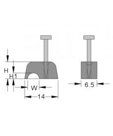 Uchwyt mocujacy flop 9,0 mm licht grau