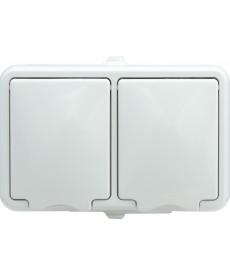 Gniazdo podwójne poziome IP 44 klapka biała. KOS HYDRO 120436