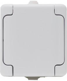 Gniazdo pojedyncze IP 44 klapka biała typu Schuko. KOS BRYZA 180441