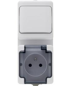 Zestaw pionowy: łącznik pojedynczy biały IP44 + gniazdo pojedyncze IP 44 białe klapka dymna KOS BRYZA 181460