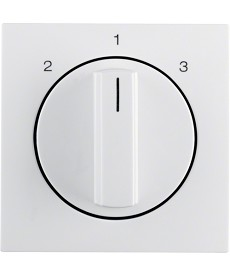Płytka czołowa z pokrętłem do łącznika 3-pozycyjnego bez 0; biały, połysk; S.1/B