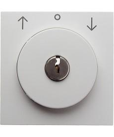 Płytka czołowa z zamkiem do łącznika żaluzjowego na klucz; biały, połysk; S.1/B.
