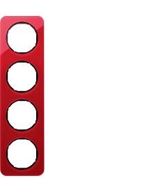 R.1 Ramka 4-krotna, akryl przezroczysty, czerwony/czarny
