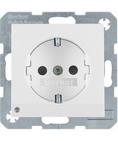Gniazdo SCHUKO z podświetleniem orientacyjnym Berker B.Kwadrat/B.3/B.7 biały, po