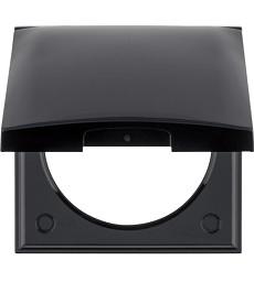 Ramka 1-krotna z pokrywą czarny, połysk Integro Flow/Pure