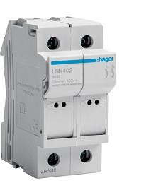 Modułowa podstawa bezpiecznikowa 2P wkł.bezp.c l.L32 8X32mm, 25A 400VAC HAGER LS