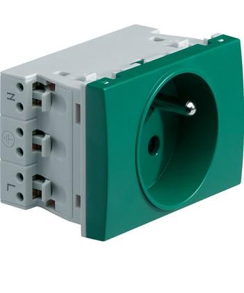 Gniazdo przelotowe z uziemieniem, 2P+Z; samozaciski; Systo; 3 moduły; zielony; 1