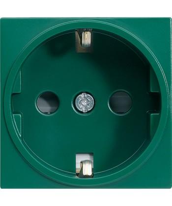 Gniazdo SCHUKO z przesłonami styków; Systo; 2 moduły; zielony; 16A/250V
