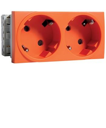 Gniazdo przelot, SCHUKO 2x(2P+Z); samozaciski; zab.dotyk. Systo; 4 moduły; pomar
