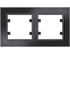 Ramka 2-krotna pozioma, szkło czarne hager.lumina passion wl9221
