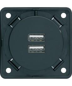Integro Gniazdo USB ładowania podwójne, 230V, 3A antrac t, mat HAGER 926102505