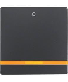 Klawisz mit pomarańczowyr Linse und Aufdruck 0 Berker Q.1/Q.3 antracyt, aksamit