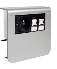 SL Nośnik urządzeń 20x80, 2P+E / 2xRJ45, alu