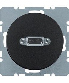 R.1/R.3 Gniazdo VGA z zaciskami śrubowymi, czarny, połysk