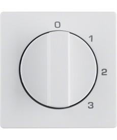 Płytka czołowa z pokrętłem do łącznika 3-pozycyjnego z 0 i nadrukiem; biały, aks