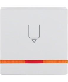 Łącznik na kartę hotelową-nasadka z nadrukiem i czerwoną soczewką biały, aksami