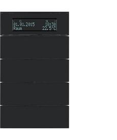 Przycisk 4-krotny z regulatorem temp. i wyświetlaczem; szkło czarne; B.IQ
