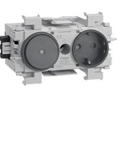 Gniazdo SCHUKO z przełącznikiem, WAGO, montaż krawędziowy, antracyt