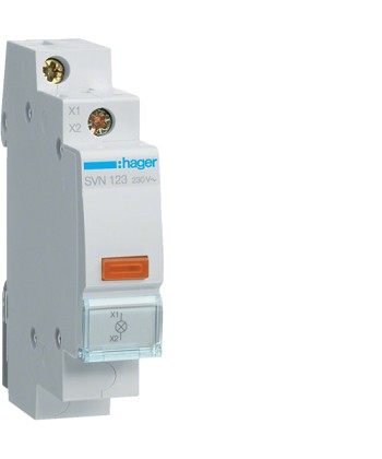 LAMPKA SYGNALIZACYJNA POMARAŃCZOWA 230V AC HAGER SVN123