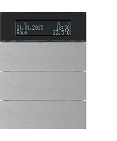 Przycisk 3-krotny z regulatorem temp. i wyświetlaczem; aluminium; B.IQ