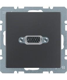 Gniazdo VGA z zaciskami śrubowymi Berker Q.1/Q.3 antracyt, aksamit