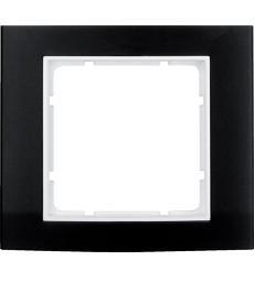 Ramka 1-krotna Berker B.3 alu, czarny/biały