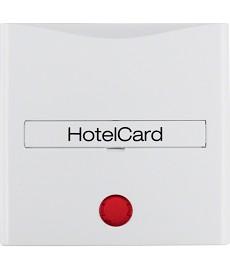 Łącznik na kartę hotelową-nasadka z nadrukiem i czerwoną soczewką; biały, połysk