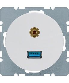 R.1/R.3 Gniazdo USB/3.5 mm audio biały, połysk