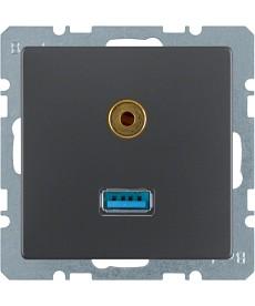 Gniazdo USB/3.5 mm audio Berker Q.1/Q.3 antracyt, aksamit