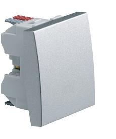 Łącznik klawiszowy przyciskowy zwierny; Systo; 2 moduły; alu; 10A/250V