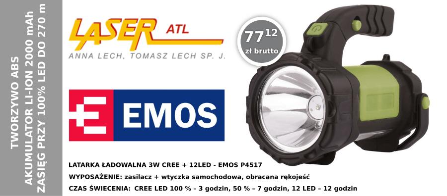 LATARKA ŁADOWALNA 3W CREE + 12LED - EMOS P4517